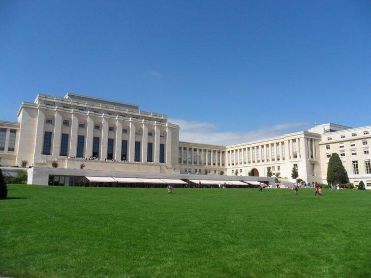 O Palácio das Nações, em Genebra. Imagem: Wikimedia Commons.