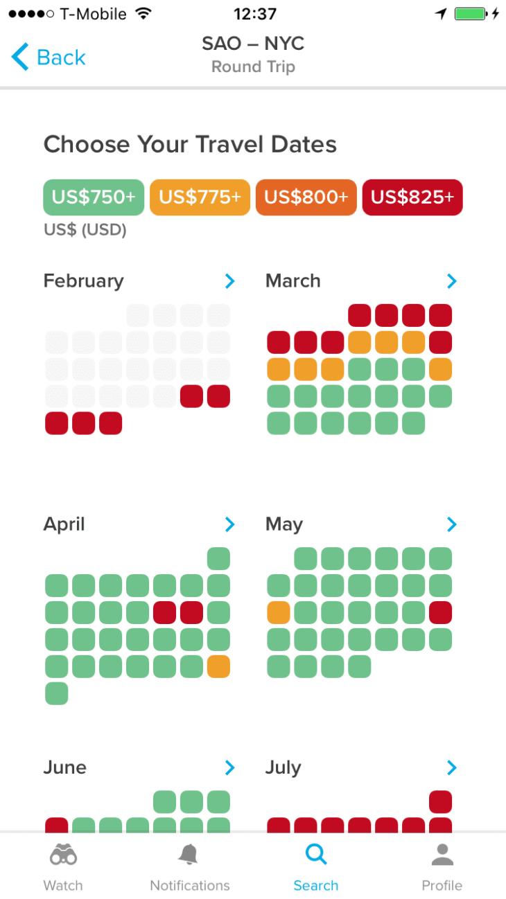 Esse é o calendário do Hopper, que te ajuda a ver o dia mais barato para voar